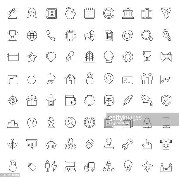 business and finance icon set - finance and economy stock illustrations, clip art, cartoons, & icons