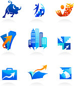 business and finance icons, symbols