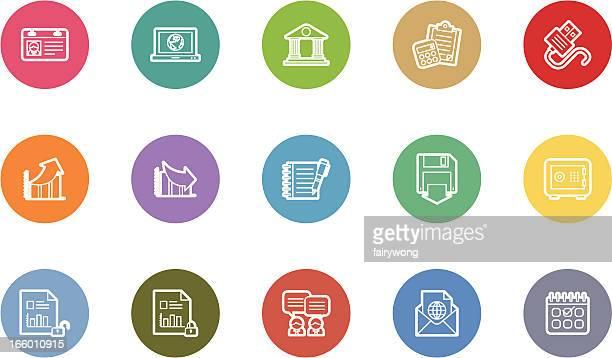 business and finance icons - finanzen und wirtschaft stock illustrations