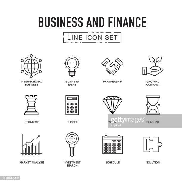 Business and Finance Line Icon Set
