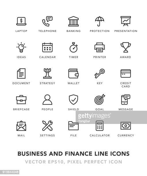 business and finance line icons - key stock illustrations