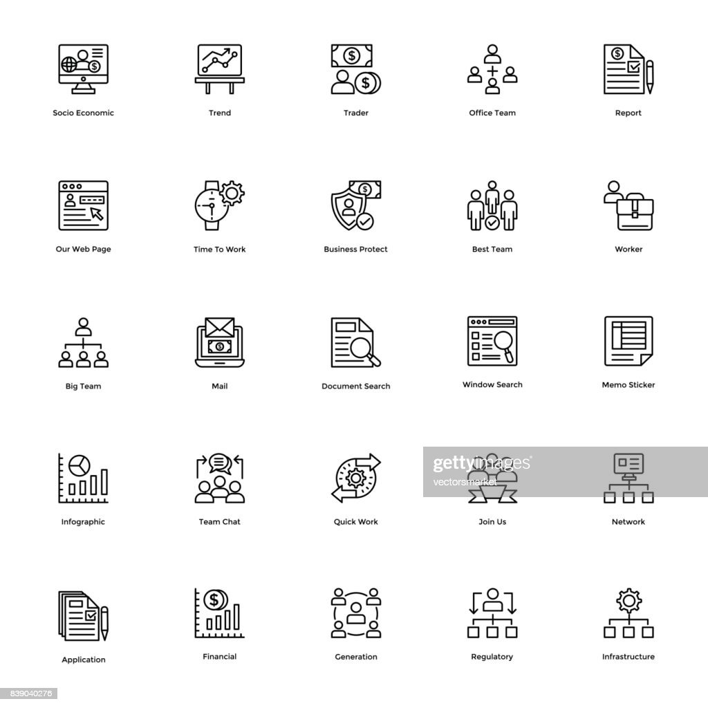 Business and Finance Line Vector Icons Set 20