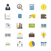 Business and Finance Money Flat Icons color
