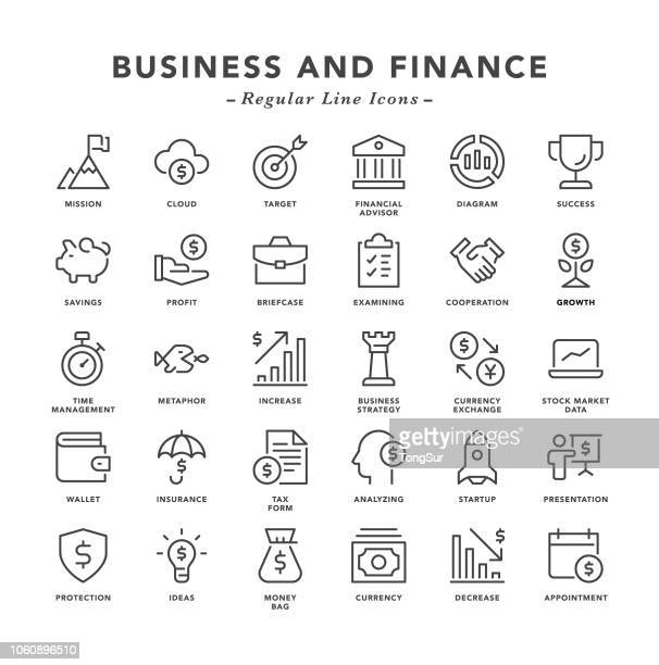 business and finance - regular line icons - investment stock illustrations