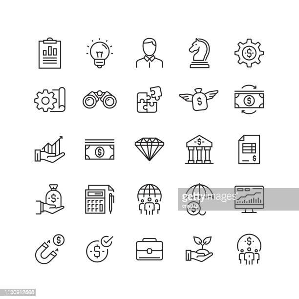 business and finance related vector line icons - sponsorship stock illustrations
