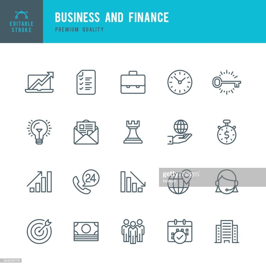 Business and Finance  - Thin Line Icon Set : stock illustration
