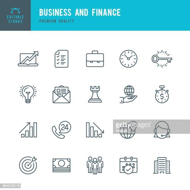 stockillustraties, clipart, cartoons en iconen met business and finance - dunne lijn icon set - financiën en economie