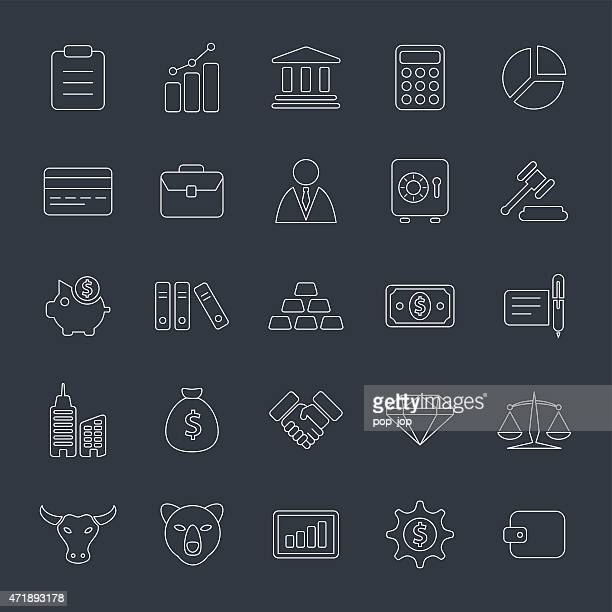 Business and Finance - Thin Line Inverted Icon Set