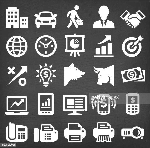 Business and Finance Vector Icon set on Black Chalkboard