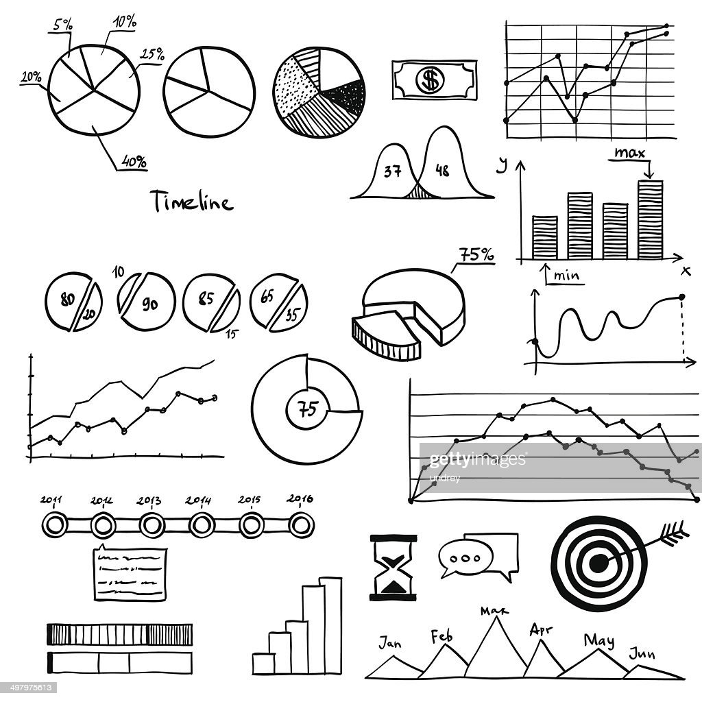 business and finanse hand draw doodle elements graph chart timeline Draw Model business and finanse hand draw doodle elements graph chart timeline vector art