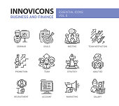 Business and fnance line design icons set