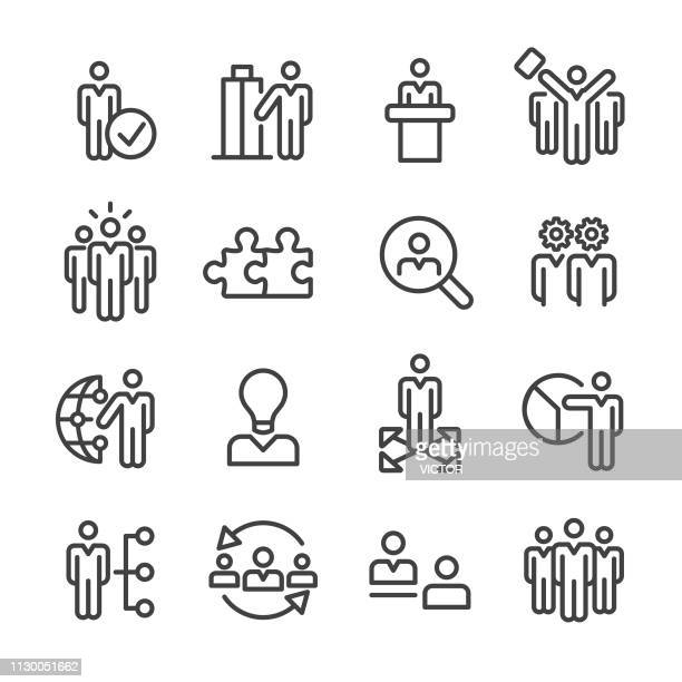 business and human resources icons set - line series - new hire stock illustrations