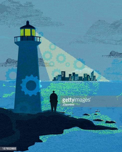 ilustraciones, imágenes clip art, dibujos animados e iconos de stock de concepto empresarial y de inversión cove lighthouse - faro