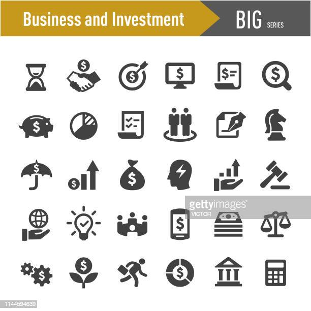 business and investment icons - big series - business travel stock illustrations