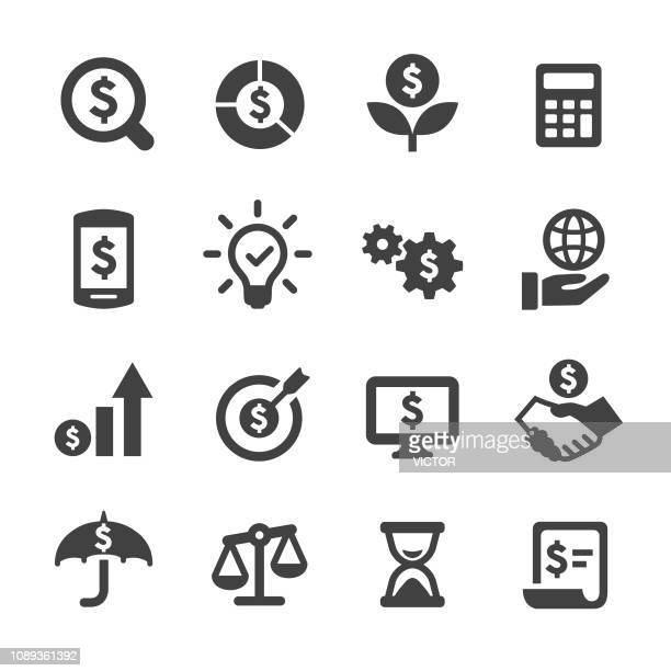 business and investment icons set - acme series - making money stock illustrations