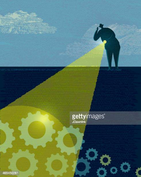 business and investment searching - flashlight stock illustrations