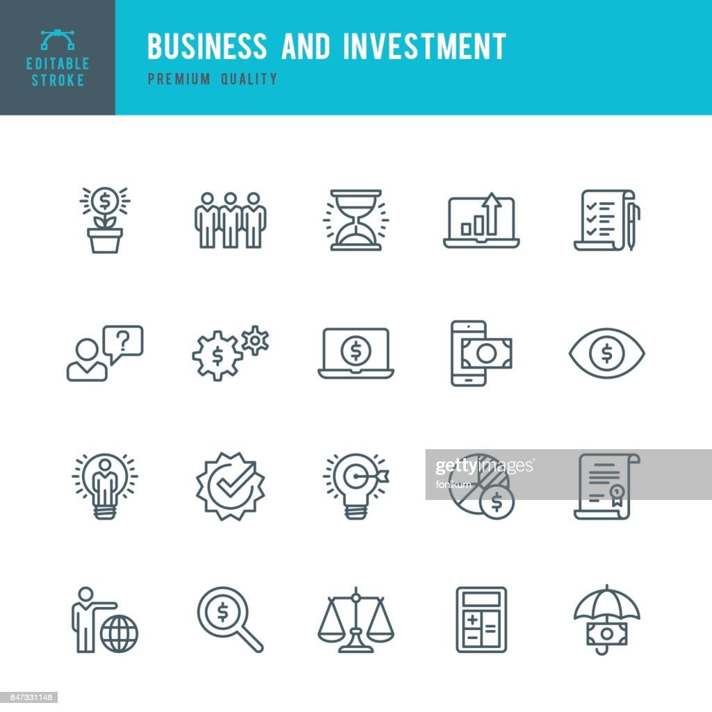 Business and Investment  - Thin Line Icon Set : Stock Illustration