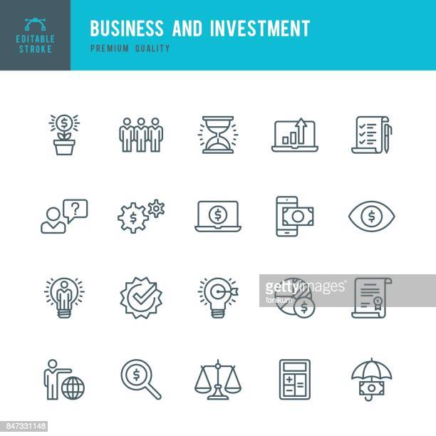 business and investment  - thin line icon set - scales stock illustrations