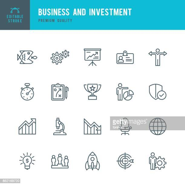 business and investment  - thin line icon set - cog stock illustrations