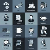 Business and management icon set. Flat vector illustration. Icons for website development and mobile phone services and apps.
