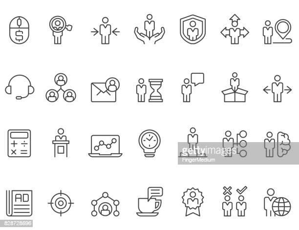 ilustraciones, imágenes clip art, dibujos animados e iconos de stock de conjunto de iconos de gestión y negocios - apuntar