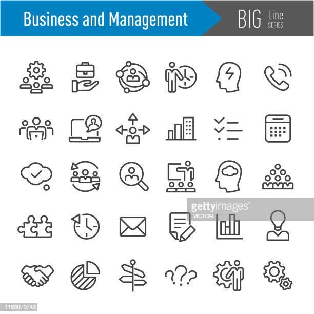 business- und management-icons - big line serie - umschulung stock-grafiken, -clipart, -cartoons und -symbole