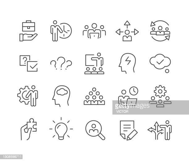 business- und management-icons - classic line series - umschulung stock-grafiken, -clipart, -cartoons und -symbole