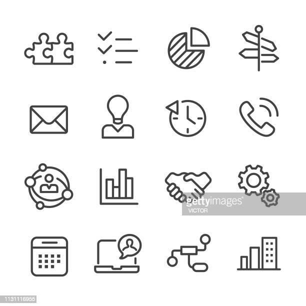 business and management icons set-line series - umschulung stock-grafiken, -clipart, -cartoons und -symbole