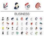Business and management isometric icons. 3d vector
