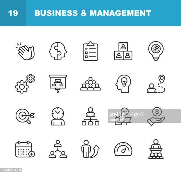 illustrations, cliparts, dessins animés et icônes de icônes de ligne d'affaires et de gestion. contour modifiable. pixel parfait. pour mobile et web. contient des icônes telles que business management, business strategy, brainstorming, optimisation, performance. - engagement des employés