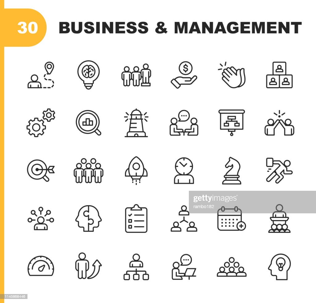 Business and Management Line Icons. Editable Stroke. Pixel Perfect. For Mobile and Web. Contains such icons as Business Management, Business Strategy, Brainstorming, Optimization, Performance. : stock illustration
