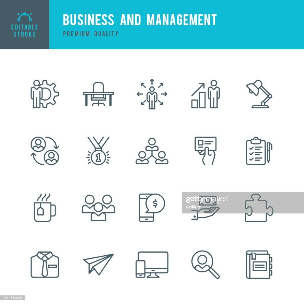 Business and Management  - Thin Line Icon Set : stock illustration