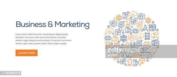 illustrations, cliparts, dessins animés et icônes de modèle de bannière d'affaires et de marketing avec des icônes de ligne. illustration vectorielle moderne pour la publicité, en-tête, site web. - panoramique