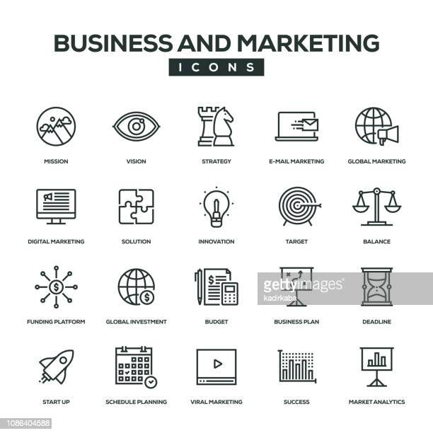 Business und Marketing-Linie-Icon-Set