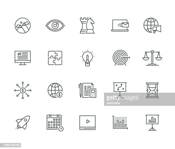 business and marketing thin line series - sales occupation stock illustrations