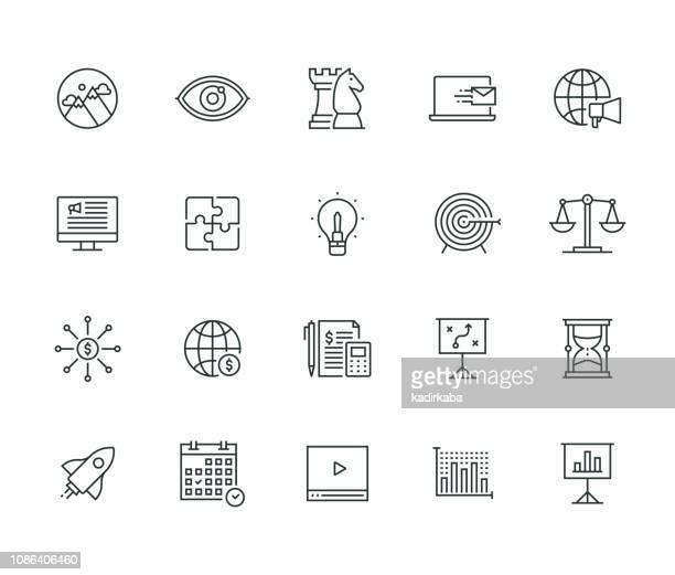 ilustrações, clipart, desenhos animados e ícones de série de linha de negócios e marketing fino - ilustração de linha fina