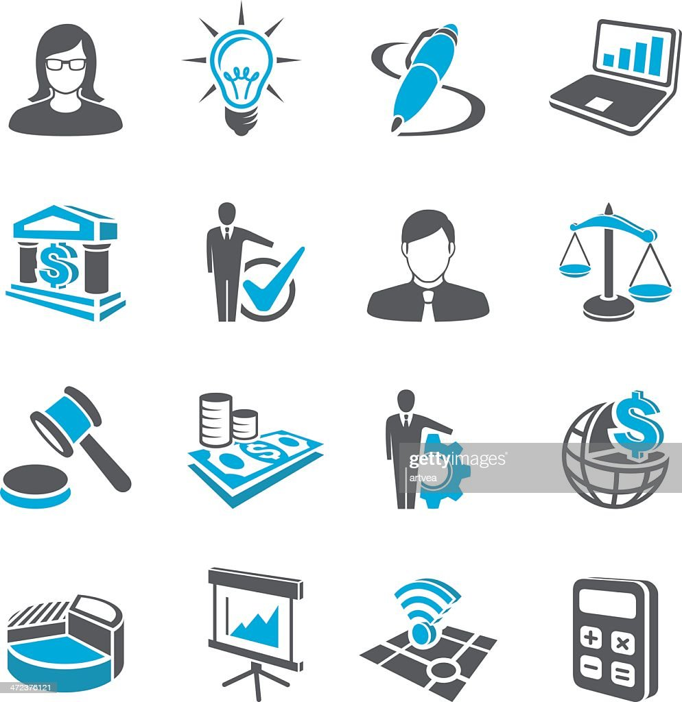 Business and occupations icon set in black and blue