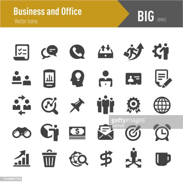 business and office icons - big series - thumbtack stock illustrations, clip art, cartoons, & icons