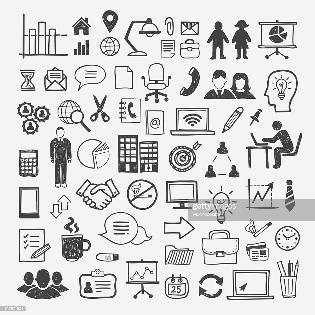Business and office icons: people, computer, digital, infographics elements