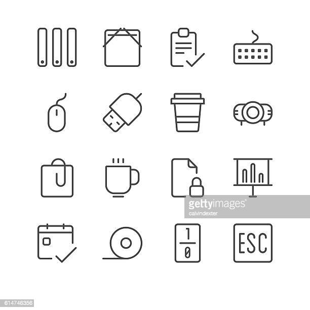 business and office icons set 6 | black line series - usb stick stock illustrations, clip art, cartoons, & icons