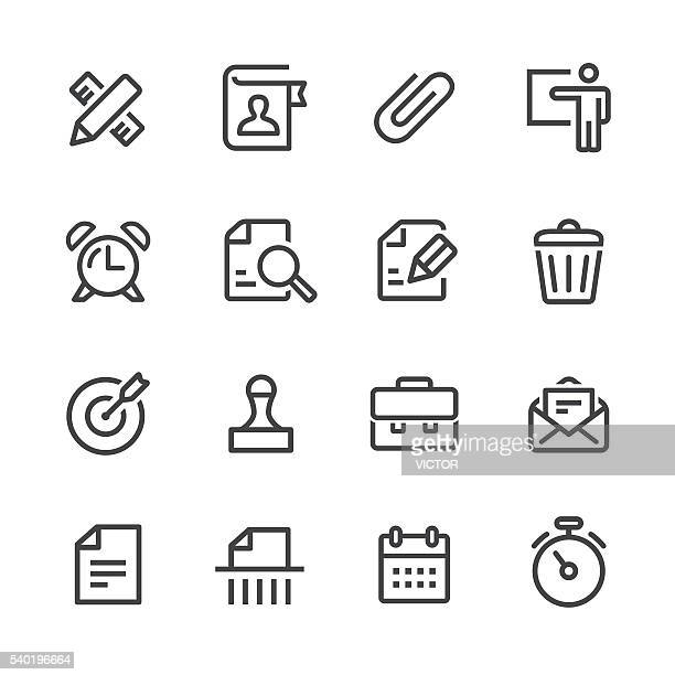 business and office icons set - line series - head above water stock illustrations