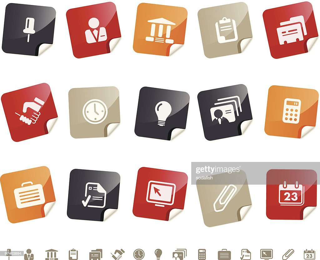 Business and Office icons Í Sticky series : stock illustration