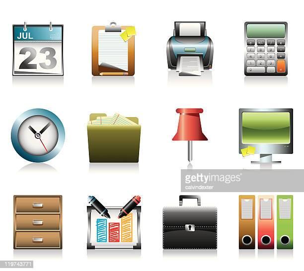 ilustraciones, imágenes clip art, dibujos animados e iconos de stock de iconos de oficina y negocios-serie ultra detalle de 3 - tarjeta de archivo