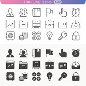 Business and office line icon set.