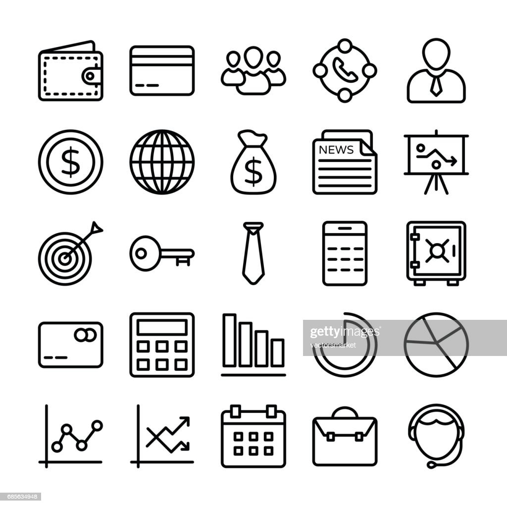 Business and Office Line Vector Icons 5