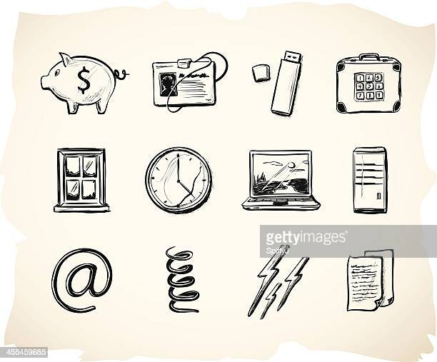 Business and office sketch icons 4