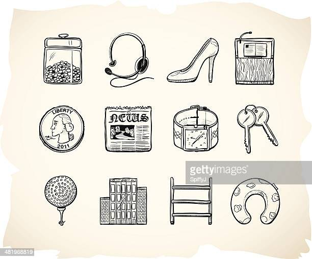 Business and office sketch icons 7