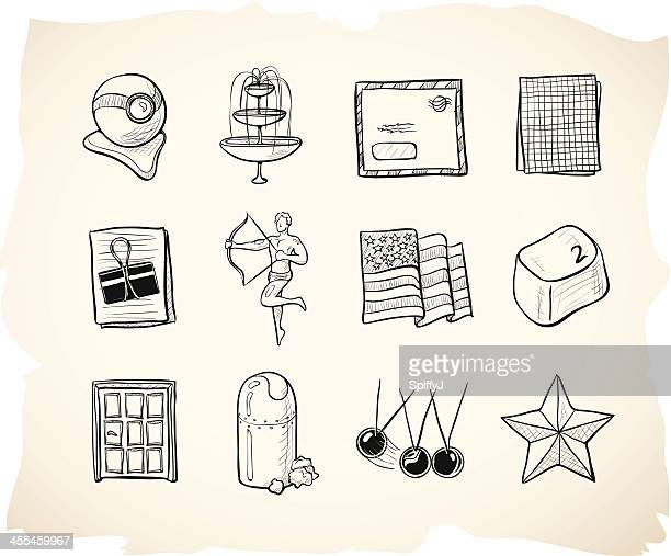 business and office sketch icons 8 - fountain stock illustrations, clip art, cartoons, & icons