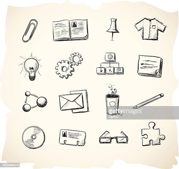 business and office sketch icons - rolodex stock illustrations, clip art, cartoons, & icons
