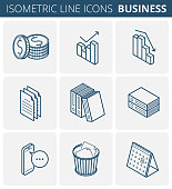 Business and office stationery. Vector isometric outline icon set.